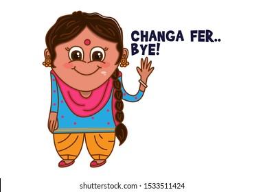 Vector cartoon illustration of Punjabi woman waving hand. Changa fer bye Punjabi text translation - okay bye. Isolated on white background.