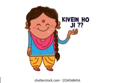 Vector cartoon illustration of Punjabi woman saying kivein ho ji?? Punjabi text translation - How are you? Isolated on white background.