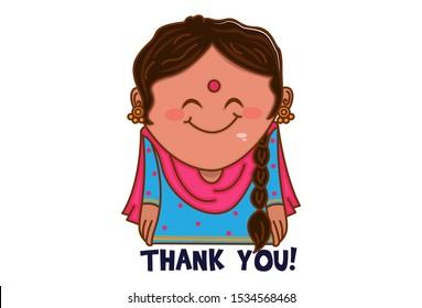 Vector cartoon illustration. Punjabi woman saying thank you. Isolated on white background.