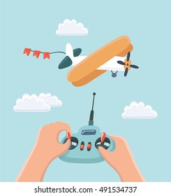 Vector cartoon Illustration RC plane and radio remote control  and kids hands. Aeromodelling workshop.