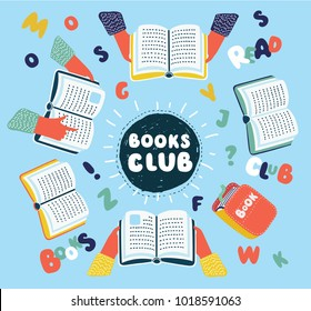 Vector cartoon illustration of Reading club. Open books on table with human hands top view, letters and words around. Colorful graphic concept