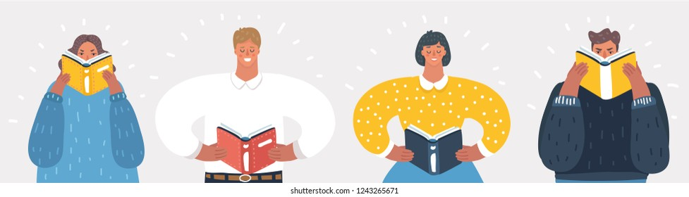Vector cartoon illustration of reading people set on white background. Man and woman hold a book in their hands. Human character on white background.
