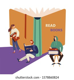 Vector cartoon illustration of reading people set on white background. Man and woman hold a book in their hands. Book Festival, Literature Event Concept. Library, Bookstore Shop Advertising