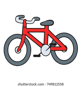 vector cartoon illustration of a red bicycle.