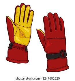 Vector Cartoon illustration - Red and Yellow Gloves for Extremal Winter Sports