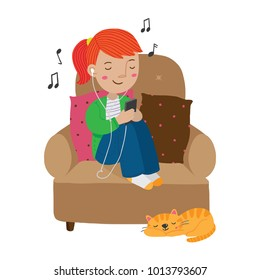 Vector cartoon illustration of redhead teenage girl listening to music on earphones from her phone and sitting curled up on an armchair at home