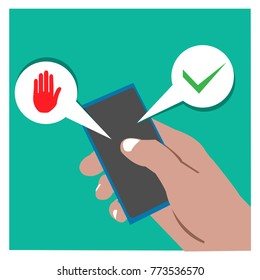 vector cartoon illustration of right hand holding handphone with Yes or no choice.  illustration in vector format