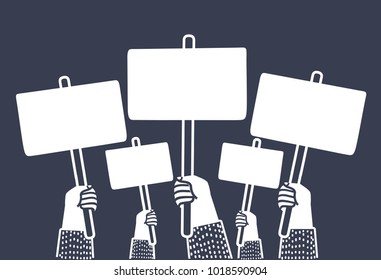 Vector cartoon illustration of riot demonstration, crowd of people with empty posters in they hands with place for text, flat illustration isolated on dark background.