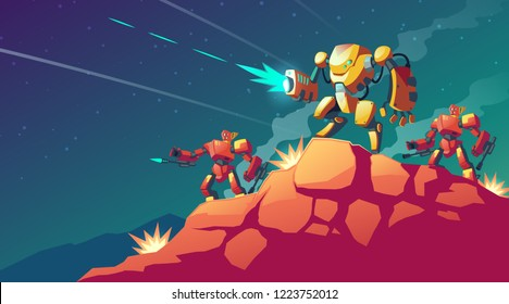 Vector cartoon illustration with robot war on alien planet, Mars. Landscape with combat robots. Battle androids, artificial intelligence in protective armor. Game background. Modern military concept.