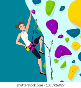 Vector cartoon illustration rock climbing girl flat cartoon style Climbing wall with climbing grips quickdraws rope sportive gitrl in climbing harness activity training competition climbs on up