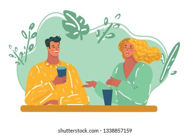 Vector cartoon illustration of Romantic loving couple drinking coffee, having a date in the cafe.