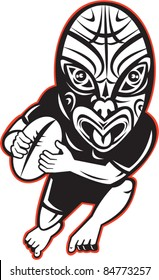 vector cartoon illustration of a Rugby player running wearing Maori mask wearing black on isolated white background