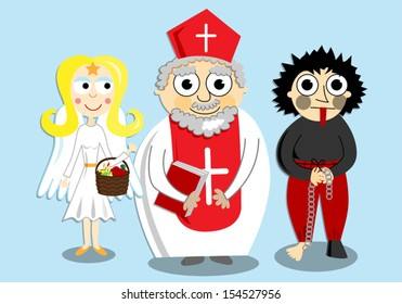 Vector cartoon illustration of Saint Nicholas (Mikulas) that is celebrated in a winter feast e.g. in the Czech Republic or Slovakia./Saint Nicholas, angel and devil/Saint Nicholas, angel and devil.