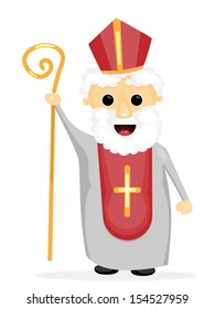 Vector cartoon illustration of Saint Nicholas (Mikulas) that is celebrated in a winter feast e.g. in the Czech Republic or Slovakia./Saint Nicholas/Saint Nicholas.