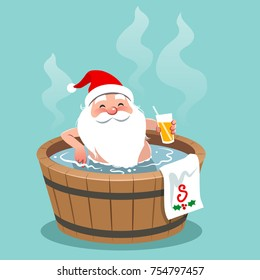 Vector cartoon illustration of Santa Claus sitting in a wooden hot tub, holding glass of orange juice. Christmas theme design element, flat contemporary style, isolated on aqua blue