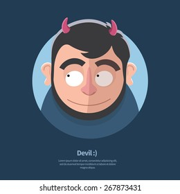 Vector cartoon illustration of satyr faun or devil. Character with horns and beard. Flat style