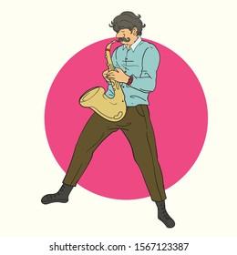 Vector cartoon illustration of saxophonist playing saxophone music instrument
