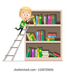 Vector cartoon illustration of school boy taking book from bookcase. Bookshelf full of different color books. Vector illustration isolated on white background