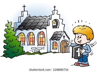 Vector Cartoon illustration of a School Boy Pointing at a Church