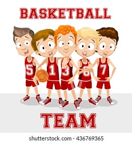 Vector cartoon illustration of school boys basketball team. Flat style illustration isolated on white background.