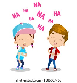 Vector cartoon illustration of school kids laughing. Isolated on white background