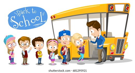 Vector cartoon illustration of school kids entering the bus and teacher or driver giving high five them. Back to school illustration isolated on white background