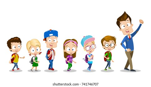 Vector cartoon illustration of School Kids Following Their Teacher. Isolated on white background