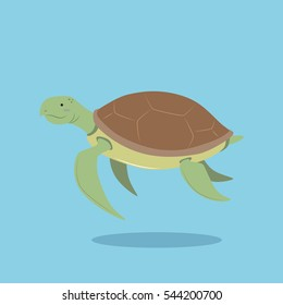 vector cartoon illustration of sea turtle in flat simple design isolated blue background