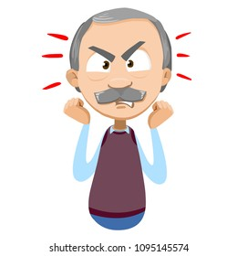 Vector cartoon illustration of senior aged male character expresses his negative evil emotions, showing anger. Vector illustration in cartoon flat style, isolated on a white background.