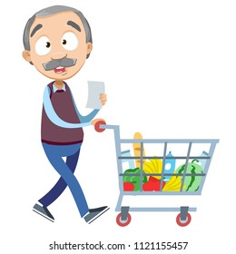 Vector cartoon illustration of senior aged male character wish shop list pushing supermarket shopping cart full of groceries. Vector illustration in cartoon flat style, isolated on a white background.