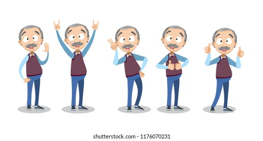 Vector cartoon illustration of senior elder male character gesturing, showing signs with hands. Happy granddad character design.