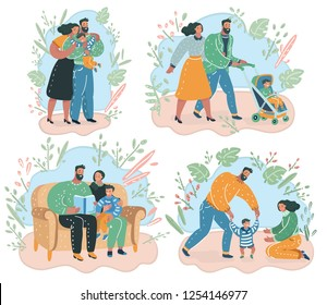 Vector cartoon illustration of set of happy family. Try to walk, reading book, give a hug.