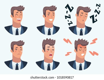 Vector cartoon illustration set of male facial emotions. Office worker, businessman in suit. Character, different expressions. Laughing, smiling, crying, sad, angry, frightened, sleepy, bored, angry.