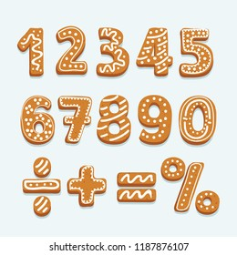 Vector cartoon illustration of Set of vector numbers in shape of Christmas gingerbread, decorated white icing, isolated on white.  Multiplication, division, equal, plus, minus signs