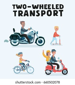 Vector cartoon illustration set of people riding on two wheels transport: motorcyclist, girl  bike, boy kick scooter and couple on moped with accessories set. helmets. Isolated objects on light blue background.