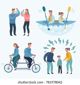 Vector cartoon illustration set of People  Quarrelling Making A Loud Public Scandal Characters Aggressive And Violent Behavior. Family trouble, yells. Angry man woman. Wrong relationship, psychology.