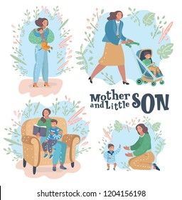 Vector cartoon illustration of set showing different roles, gestures, scenes of a mom and son. of Happy Mother's Day celebration. Big hugs, walk with a pram, reading a book aloud, toddler try to walk.