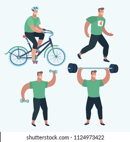 Vector cartoon illustration of Set Sports man make sport exercise. Doing warm-up and exercises with barbell and dumbbells, riding bike and running at the park. Cardio, anaerobic aerobic workouts