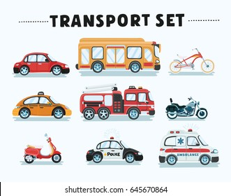 Vector cartoon illustration set of urban, city cars and vehicles transport. Ambulance, school bus, police fire truck and taxi, motorbike, bicycle, scooter.