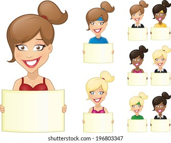 Vector cartoon illustration of sexy, cute woman holding banner