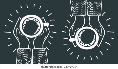 Vector cartoon illustration of sharing coffee. Meeting friends. Top view. Modern concet in black and white colors.