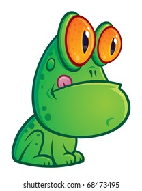 Vector cartoon illustration of a silly green frog with orange eyes sitting with his tongue sticking out.