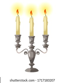 Vector cartoon illustration of silver candelabra candles in vintage style. Candles in classic candlesticks. Design element for design of ancient interior of castles, traditional wedding and ceremonies