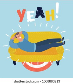 Vector cartoon illustration of simple cartoon of a happy man taking a nap on sofa. Laying, relaxing, recharge, resting theme. Yeah! lettering.