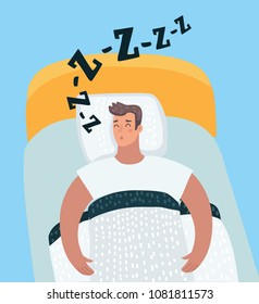 Vector cartoon illustration of sleeping man. Male character snoring in the bad