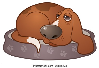 Vector cartoon illustration of a sleepy hound dog lying on a paw print dog bed.