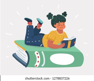 Vector cartoon illustration of Small kid holding open books and reading. Human character on white bakcground.