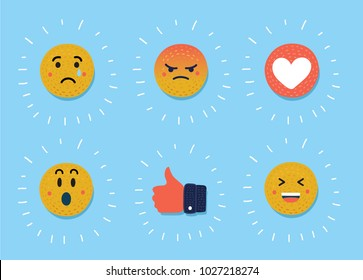 Vector cartoon illustration of Smiley, emoticons set. Yellow face with emotions. Facial expression. Mood. Thumb up, heart, sad, angry, laughing, crying faces
