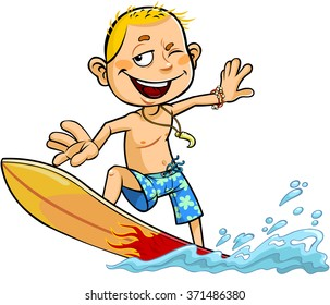 Vector cartoon illustration of a smiling boy riding on a surfboard