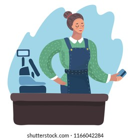 Vector cartoon illustration of Smiling Cashier Girl holding plastic credit card in her hand.